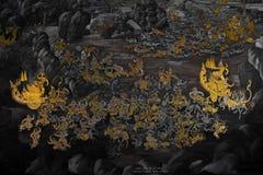 Peinture murale de Ramakien photographie stock