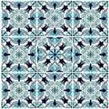 Peinture murale foncée bleue de mosaïque de modèle de fleur images stock