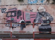 Peinture murale sur la caserne de pompiers, ville de Gaza, bande de Gaza Photo stock