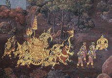 Peinture murale thaïlandaise dans le sanctuaire Wat Phra Kaew Photos libres de droits