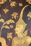 Peinture murale thaïlandaise sur la porte de Wat Pong Sanuk Nua, Lampang, thaïlandais Photo stock