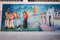 Peinture murale traditionnelle dans un village à distance guatémaltèque Photos libres de droits