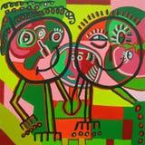 Peinture naïve de couples heureux image stock