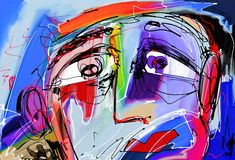 Peinture numérique abstraite de visage humain Images libres de droits