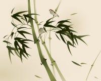 Peinture orientale de style, branches en bambou Image stock