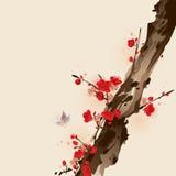 Peinture orientale de type, fleur de plomb au printemps Images libres de droits
