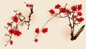 Peinture orientale de type, fleur de plomb au printemps Illustration de Vecteur