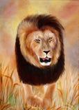 Peinture originale d'un portrait de lion, un art d'enfant Image stock