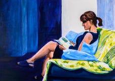 Peinture originale d'une lecture de femme illustration stock