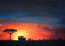 Peinture originale de coucher du soleil splendide au masai Mara, un art d'enfant Images libres de droits
