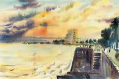 Peinture originale de paysage marin d'aquarelle colorée de la mer de soirée illustration de vecteur
