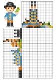 Peinture par puzzle de logique de nombre, nonogram Pirate avec un perroquet illustration libre de droits