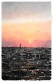 Peinture pour aquarelle de Digital d'une navigation de voilier dans les soleils Photos libres de droits