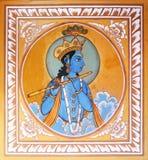 Peinture religieuse sur le mur de maison de Mandawa, Inde image stock