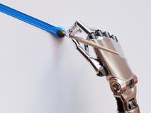 Peinture robotique de bras avec l'illustration du plan rapproché 3d de brosse Photos libres de droits