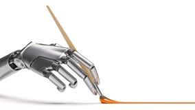 Peinture robotique de bras avec l'illustration du plan rapproché 3d de brosse Images libres de droits