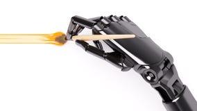 Peinture robotique de bras avec l'illustration du plan rapproché 3d de brosse Photo stock