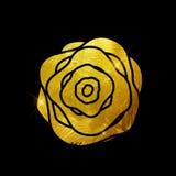 Peinture Rose Flower Art Illustration texturisée éclatante d'or Vec Photographie stock libre de droits