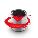 Peinture rouge éclaboussant hors du bidon Photos libres de droits