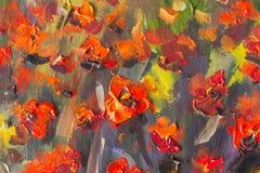 Peinture rouge de fleurs de pavots Fragment haut étroit de macro photo libre de droits