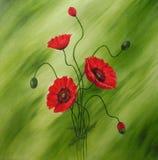 Peinture rouge de pavots Image libre de droits