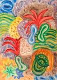 Peinture sous-marine d'abrégé sur le monde Images libres de droits