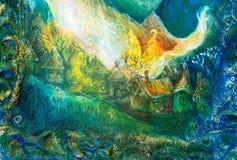 Peinture structurée colorée d'un village de forêt de conte de fées avec les flammes blanches Image libre de droits