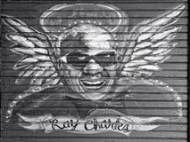 Peinture sur le bois de Ray Charles dans le quartier français B&W photographie stock