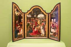 Peinture sur le bois des scènes bibliques dans Landesmuseum, Innsbruck, Autriche photographie stock