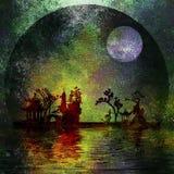 Peinture texturisée d'horizontal de l'Asie Photos libres de droits