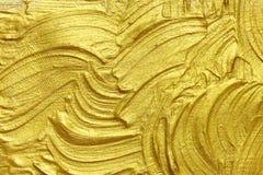 Peinture texturisée acrylique d'or Photos libres de droits