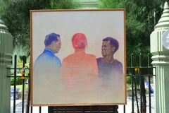 Peinture thaïlandaise d'étudiants en art du portrait du Roi Bhumibol de Sa Majesté Photographie stock