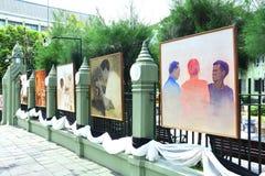 Peinture thaïlandaise d'artiste de portrait du Roi Bhumibol de Sa Majesté Photo libre de droits