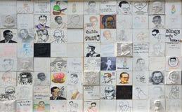 Peinture thaïlandaise d'artiste de portrait du Roi Bhumibol de Sa Majesté Image libre de droits