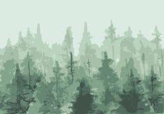 Peinture tirée par la main de l'hiver Forest Landscape Images libres de droits