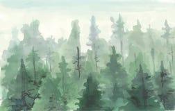 Peinture tirée par la main de l'hiver Forest Landscape Images stock