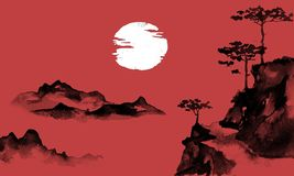 Peinture traditionnelle de sumi-e du Japon Illustration d'encre de Chine Image japonaise Sun et montagnes illustration de vecteur
