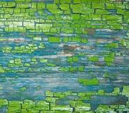 Peinture verte crackinged par vieillissement de texture photographie stock libre de droits