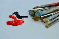 Peintures à l'huile de pinceaux et Image stock