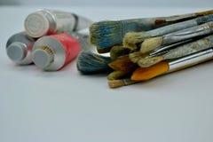 Peintures à l'huile de pinceaux et Images stock