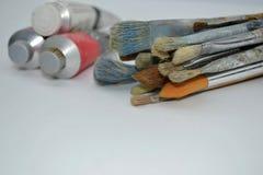 Peintures à l'huile de pinceaux et Image libre de droits