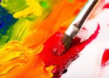 Peintures à l'huile et brosse Concept d'art moderne image stock