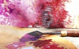 Peintures à l'huile sur la palette Photo stock
