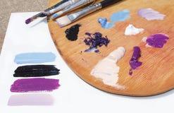 Peintures à l'huile sur la palette Photographie stock libre de droits