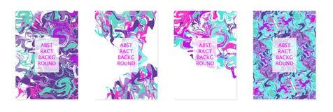 Peintures acryliques liquides Mélange de couleurs lumineux Bannières A4 verticales pour la couverture de conception, insecte, pré illustration libre de droits