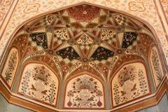 Peintures complexes sur le fort d'ambre d'entrée de Ganesh Pol Photos libres de droits