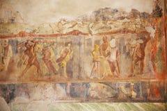 Peintures de fresque sur les murs romains antiques Photos stock