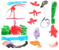 Peintures 1 de l'aquarelle des enfants Images libres de droits