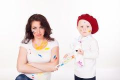 Peintures de mère et de petit garçon une fois peint Photographie stock libre de droits