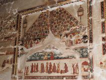 Peintures de mur de fort d'Orchha et de palais, Madhya Pradesh, Inde photos stock